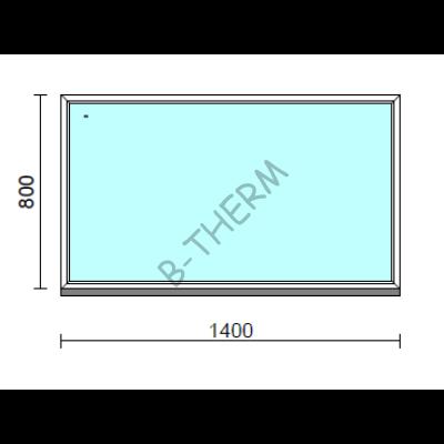 Fix ablak.  140x 80 cm (Rendelhető méretek: szélesség 135-144 cm, magasság 75-84 cm.)   Optima 76 profilból