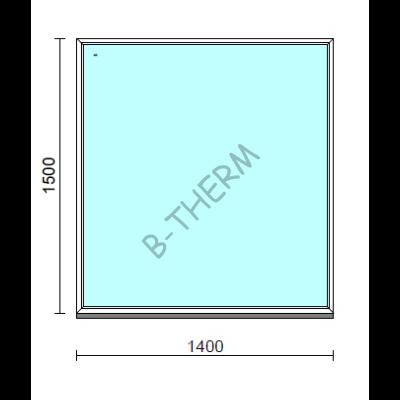 Fix ablak.  140x150 cm (Rendelhető méretek: szélesség 135-144 cm, magasság 145-154 cm.)   Optima 76 profilból