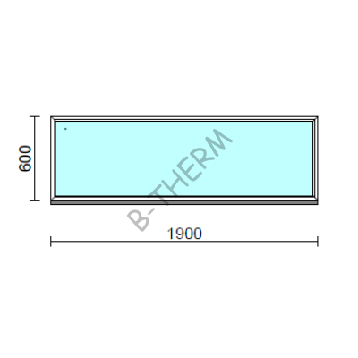 Fix ablak.  190x 60 cm (Rendelhető méretek: szélesség 185-194 cm, magasság 55-64 cm.)   Optima 76 profilból