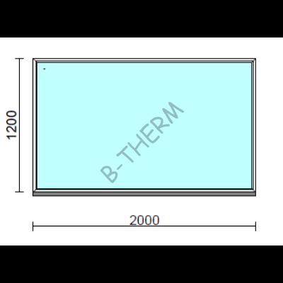 Fix ablak.  200x120 cm (Rendelhető méretek: szélesség 195-204 cm, magasság 115-124 cm.)   Optima 76 profilból