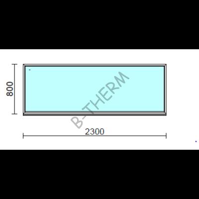 Fix ablak.  230x 80 cm (Rendelhető méretek: szélesség 225-234 cm, magasság 75-84 cm.)   Optima 76 profilból