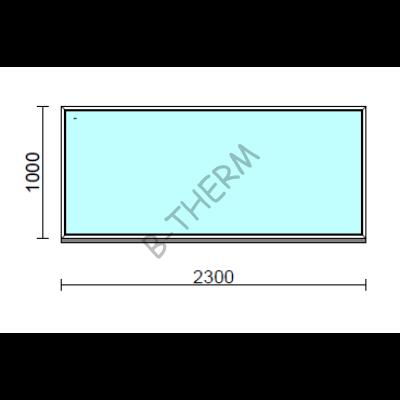Fix ablak.  230x100 cm (Rendelhető méretek: szélesség 225-234 cm, magasság 95-104 cm.)   Optima 76 profilból