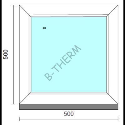 Fix ablak.   50x 50 cm (Rendelhető méretek: szélesség 50-54 cm, magasság 50-54 cm.) Deluxe A85 profilból