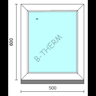 Fix ablak.   50x 60 cm (Rendelhető méretek: szélesség 50-54 cm, magasság 55-64 cm.)   Optima 76 profilból