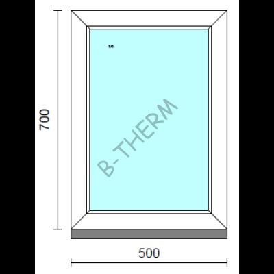 Fix ablak.   50x 70 cm (Rendelhető méretek: szélesség 50-54 cm, magasság 65-74 cm.)   Optima 76 profilból