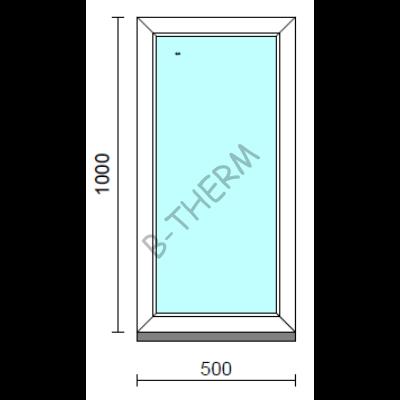 Fix ablak.   50x100 cm (Rendelhető méretek: szélesség 50-54 cm, magasság 95-104 cm.)   Optima 76 profilból