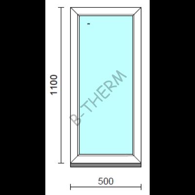 Fix ablak.   50x110 cm (Rendelhető méretek: szélesség 50-54 cm, magasság 105-114 cm.)   Optima 76 profilból
