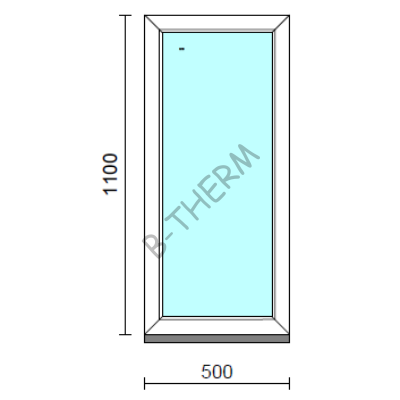 Fix ablak.   50x110 cm (Rendelhető méretek: szélesség 50-54 cm, magasság 105-114 cm.) Deluxe A85 profilból