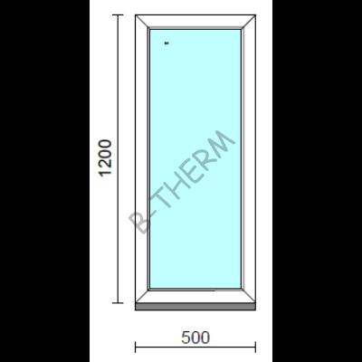 Fix ablak.   50x120 cm (Rendelhető méretek: szélesség 50-54 cm, magasság 115-124 cm.)   Optima 76 profilból