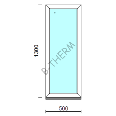 Fix ablak.   50x130 cm (Rendelhető méretek: szélesség 50-54 cm, magasság 125-134 cm.)   Optima 76 profilból