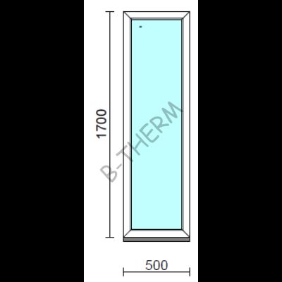 Fix ablak.   50x170 cm (Rendelhető méretek: szélesség 50-54 cm, magasság 165-174 cm.)   Optima 76 profilból