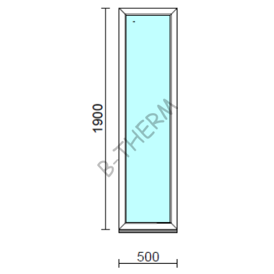 Fix ablak.   50x190 cm (Rendelhető méretek: szélesség 50-54 cm, magasság 185-194 cm.)   Optima 76 profilból