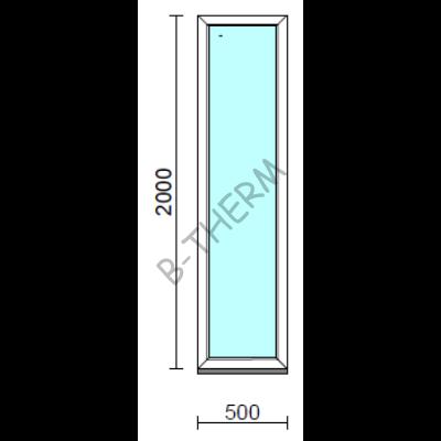 Fix ablak.   50x200 cm (Rendelhető méretek: szélesség 50-54 cm, magasság 195-204 cm.)   Optima 76 profilból