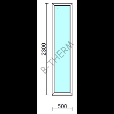 Fix ablak.   50x230 cm (Rendelhető méretek: szélesség 50-54 cm, magasság 225-234 cm.)   Optima 76 profilból