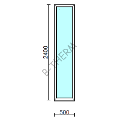 Fix ablak.   50x240 cm (Rendelhető méretek: szélesség 50-54 cm, magasság 235-240 cm.) Deluxe A85 profilból