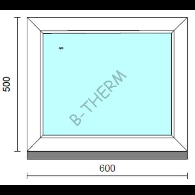 Fix ablak.   60x 50 cm (Rendelhető méretek: szélesség 55-64 cm, magasság 50-54 cm.)   Optima 76 profilból