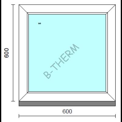 Fix ablak.   60x 60 cm (Rendelhető méretek: szélesség 55-64 cm, magasság 55-64 cm.)   Optima 76 profilból