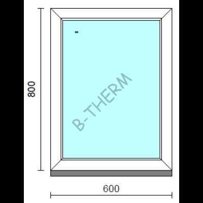 Fix ablak.   60x 80 cm (Rendelhető méretek: szélesség 55-64 cm, magasság 75-84 cm.) Deluxe A85 profilból