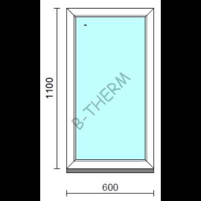 Fix ablak.   60x110 cm (Rendelhető méretek: szélesség 55-64 cm, magasság 105-114 cm.)   Optima 76 profilból