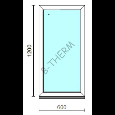 Fix ablak.   60x120 cm (Rendelhető méretek: szélesség 55-64 cm, magasság 115-124 cm.)   Optima 76 profilból