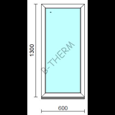 Fix ablak.   60x130 cm (Rendelhető méretek: szélesség 55-64 cm, magasság 125-134 cm.)   Optima 76 profilból