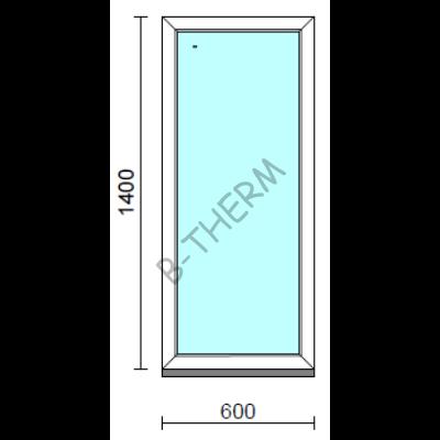 Fix ablak.   60x140 cm (Rendelhető méretek: szélesség 55-64 cm, magasság 135-144 cm.)   Optima 76 profilból