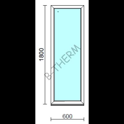 Fix ablak.   60x180 cm (Rendelhető méretek: szélesség 55-64 cm, magasság 175-184 cm.)   Optima 76 profilból