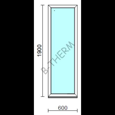 Fix ablak.   60x190 cm (Rendelhető méretek: szélesség 55-64 cm, magasság 185-194 cm.)   Optima 76 profilból