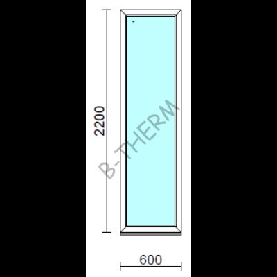 Fix ablak.   60x220 cm (Rendelhető méretek: szélesség 55-64 cm, magasság 215-224 cm.)   Optima 76 profilból