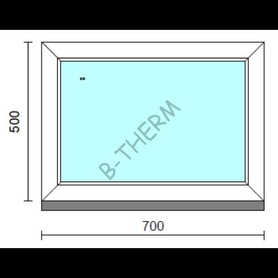 Fix ablak.   70x 50 cm (Rendelhető méretek: szélesség 65-74 cm, magasság 50-54 cm.)   Optima 76 profilból