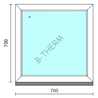 Fix ablak.   70x 70 cm (Rendelhető méretek: szélesség 65-74 cm, magasság 65-74 cm.)   Optima 76 profilból