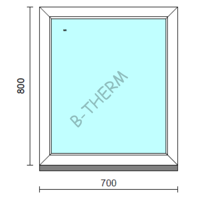 Fix ablak.   70x 80 cm (Rendelhető méretek: szélesség 65-74 cm, magasság 75-84 cm.)   Optima 76 profilból