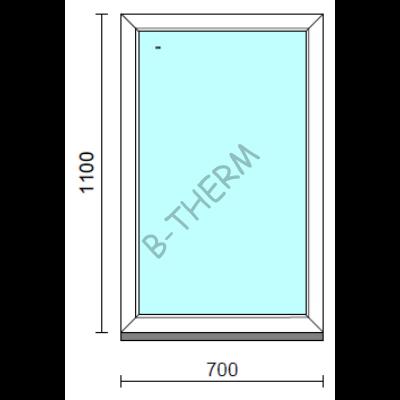 Fix ablak.   70x110 cm (Rendelhető méretek: szélesség 65-74 cm, magasság 105-114 cm.)   Optima 76 profilból