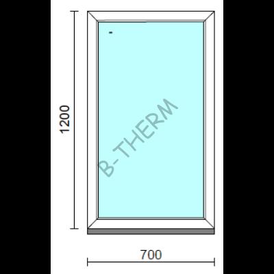 Fix ablak.   70x120 cm (Rendelhető méretek: szélesség 65-74 cm, magasság 115-124 cm.)   Optima 76 profilból