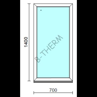 Fix ablak.   70x140 cm (Rendelhető méretek: szélesség 65-74 cm, magasság 135-144 cm.)   Optima 76 profilból