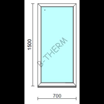 Fix ablak.   70x150 cm (Rendelhető méretek: szélesség 65-74 cm, magasság 145-154 cm.)   Optima 76 profilból