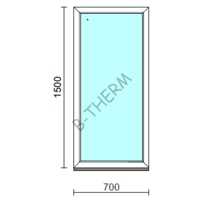 Fix ablak.   70x150 cm (Rendelhető méretek: szélesség 65-74 cm, magasság 145-154 cm.) Deluxe A85 profilból