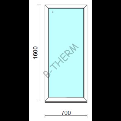 Fix ablak.   70x160 cm (Rendelhető méretek: szélesség 65-74 cm, magasság 155-164 cm.) Deluxe A85 profilból