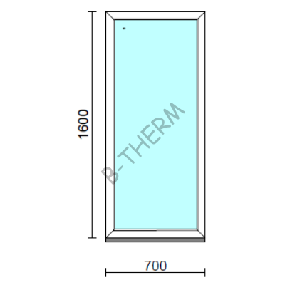 Fix ablak.   70x160 cm (Rendelhető méretek: szélesség 65-74 cm, magasság 155-164 cm.)   Optima 76 profilból