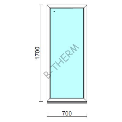 Fix ablak.   70x170 cm (Rendelhető méretek: szélesség 65-74 cm, magasság 165-174 cm.)   Optima 76 profilból