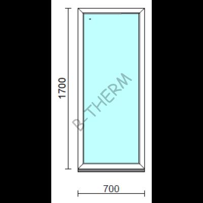 Fix ablak.   70x170 cm (Rendelhető méretek: szélesség 65-74 cm, magasság 165-174 cm.) Deluxe A85 profilból