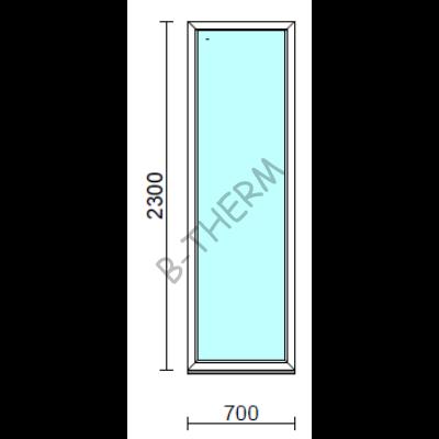 Fix ablak.   70x230 cm (Rendelhető méretek: szélesség 65-74 cm, magasság 225-234 cm.) Deluxe A85 profilból