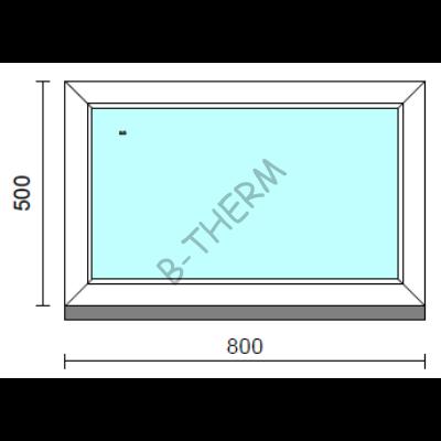 Fix ablak.   80x 50 cm (Rendelhető méretek: szélesség 75-84 cm, magasság 50-54 cm.)   Optima 76 profilból