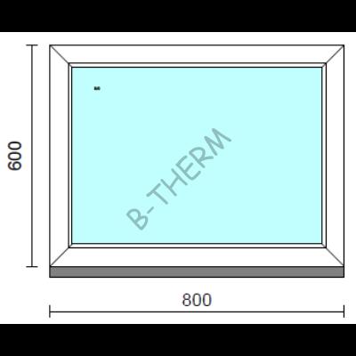 Fix ablak.   80x 60 cm (Rendelhető méretek: szélesség 75-84 cm, magasság 55-64 cm.) Deluxe A85 profilból