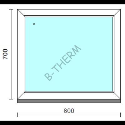 Fix ablak.   80x 70 cm (Rendelhető méretek: szélesség 75-84 cm, magasság 65-74 cm.) Deluxe A85 profilból