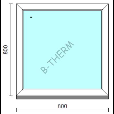 Fix ablak.   80x 80 cm (Rendelhető méretek: szélesség 75-84 cm, magasság 75-84 cm.)   Optima 76 profilból