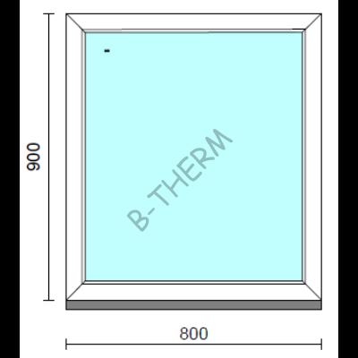Fix ablak.   80x 90 cm (Rendelhető méretek: szélesség 75-84 cm, magasság 85-94 cm.)   Optima 76 profilból