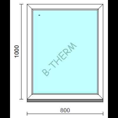 Fix ablak.   80x100 cm (Rendelhető méretek: szélesség 75-84 cm, magasság 95-104 cm.)   Optima 76 profilból