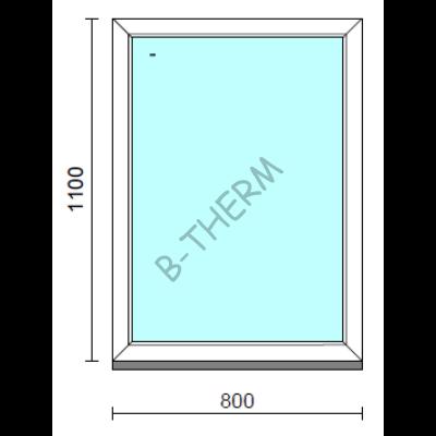 Fix ablak.   80x110 cm (Rendelhető méretek: szélesség 75-84 cm, magasság 105-114 cm.)   Optima 76 profilból