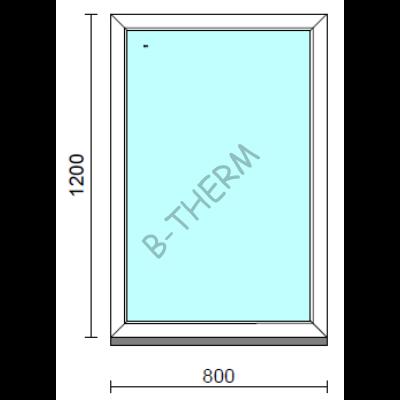 Fix ablak.   80x120 cm (Rendelhető méretek: szélesség 75-84 cm, magasság 115-124 cm.)   Optima 76 profilból